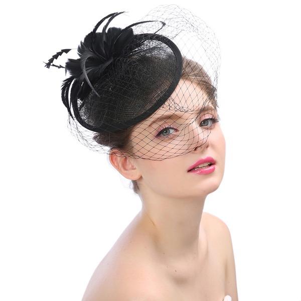 Dames Beau/Magnifique/Mode/Spécial/Glamour/Exquis Batiste avec Feather/Une fleur Chapeaux de type fascinator