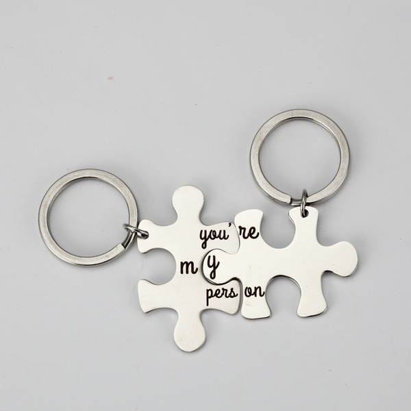 Classic/Lovely Stainless Steel Keychains (Set of 2)