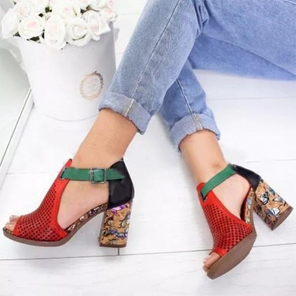 Women's Leatherette PU Flat Heel Pumps With Buckle shoes