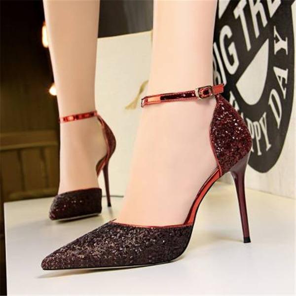 Женщины Мерцающая отделка Высокий тонкий каблук Сандалии На каблуках Закрытый мыс с блестками Соединение врасщеп обувь