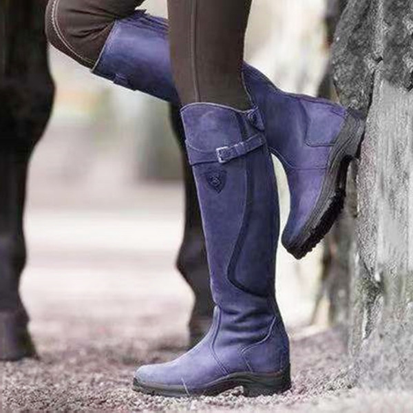 Women's PU Chunky Heel Boots Knee High Boots shoes