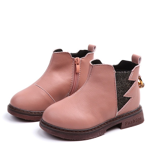 Girl's Closed Toe Leatherette Flat Heel Flats Boots With Zipper