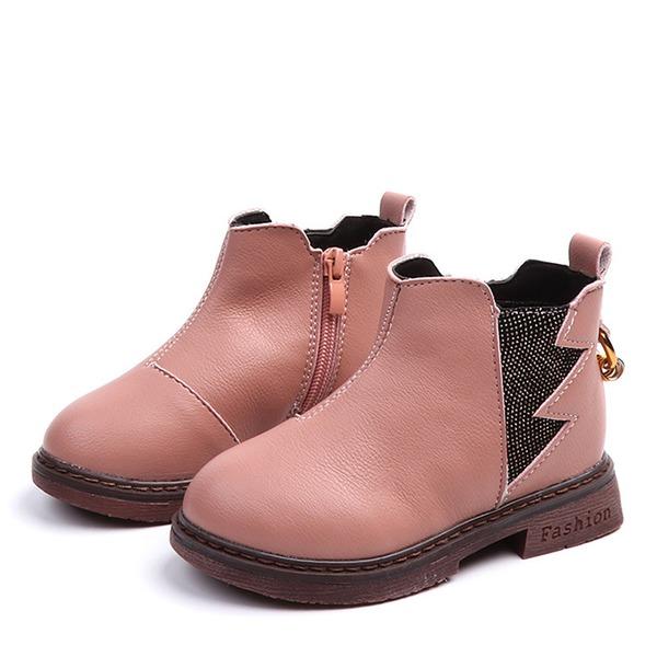 Fille de Bout fermé similicuir talon plat Chaussures plates Bottes avec Zip
