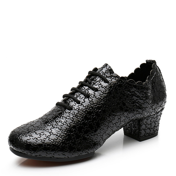 Women's Real Leather Latin Jazz Swing With Lace-up Dance Shoes