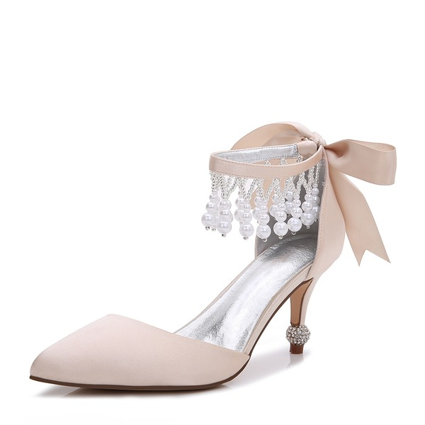 Women's Silk Like Satin Stiletto Heel Pumps Sandals With Bowknot Imitation Pearl