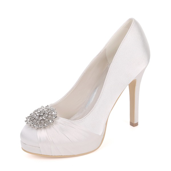 Women's Silk Like Satin Stiletto Heel Platform Pumps With Rhinestone Ruched