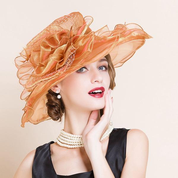 Dames Mode/Glamour/Exquis/Exceptionnel/Accrocheur/Romantique/Style Vintage Organza avec Une fleur Disquettes Chapeau