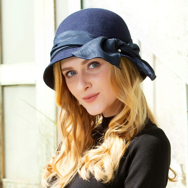 Ladies ' Smukke Uld med Bowknot Bowler / Cloche Hat