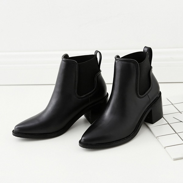 Women's PU Chunky Heel Ankle Boots With Elastic Band shoes