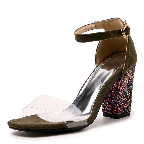 Mulheres Camurça Salto robusto Sandálias Bombas Peep toe com Lantejoulas Fivela sapatos