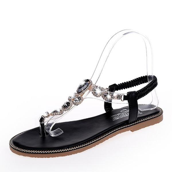 Frauen Kunstleder Flascher Absatz Sandalen Flache Schuhe mit Strass Schuhe