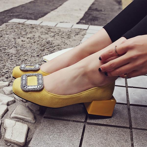 Женщины Замша Устойчивый каблук На плокой подошве Закрытый мыс с горный хрусталь обувь