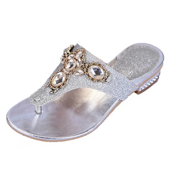 Funkelnde Glitzer Niederiger Absatz Sandalen Flache Schuhe Pantoffel mit Strass Kristall Schuhe