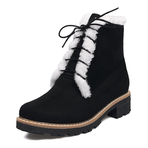 Women's Suede Low Heel Boots Ankle Boots Snow Boots Riding Boots With Lace-up Fur shoes