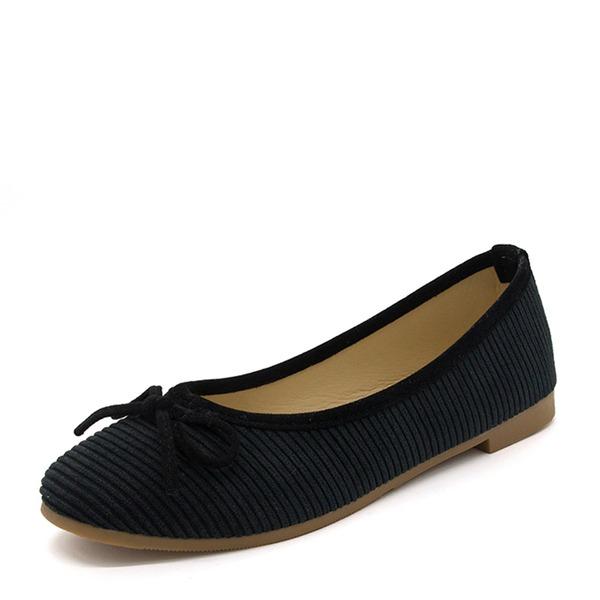Frauen Stoff Flascher Absatz Flache Schuhe Geschlossene Zehe mit Bowknot Schuhe