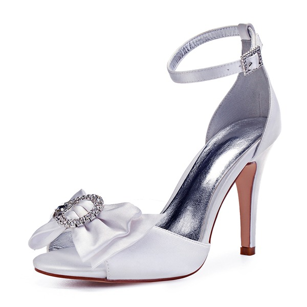 Women's Leatherette Stiletto Heel Peep Toe Pumps With Bowknot