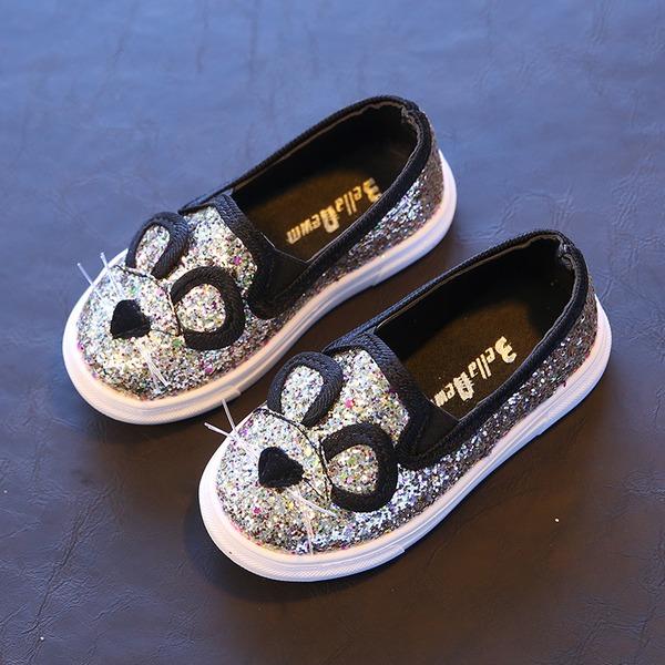 Fille de bout rond similicuir talon plat Chaussures plates avec Paillette