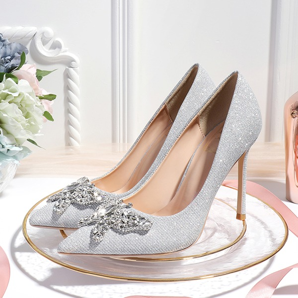 Women's Sparkling Glitter Stiletto Heel Closed Toe Pumps With Bowknot