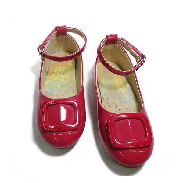 Fille de similicuir talon plat bout rond Chaussures plates avec Boucle Velcro