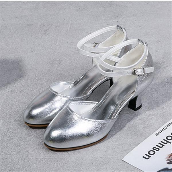 Женщины Натуральня кожа На каблуках Латино Обувь для танцев