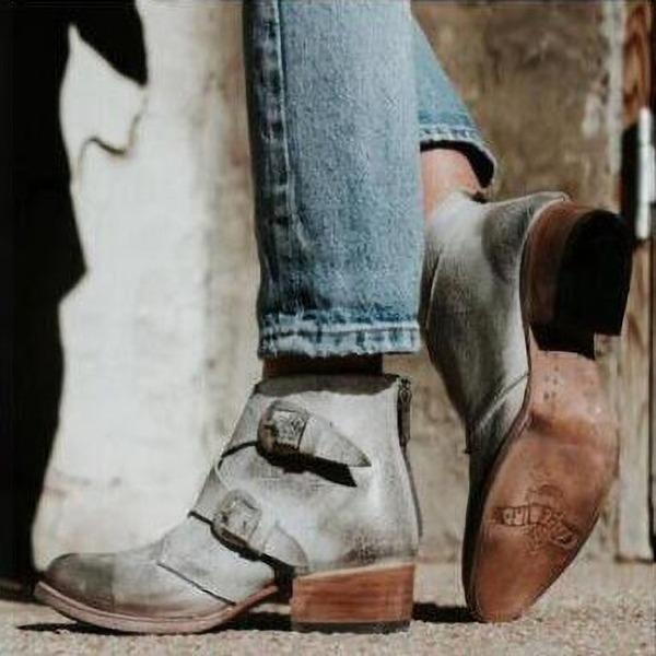 Kvinder Kunstlæder Lav Hæl Pumps Støvler med Spænde Lynlås sko