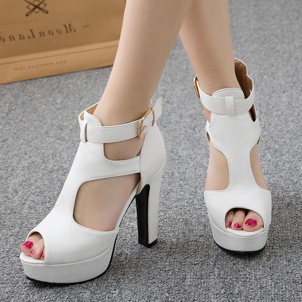 Donna PU Tacco spesso Sandalo Stiletto Piattaforma Punta aperta con Fibbia scarpe