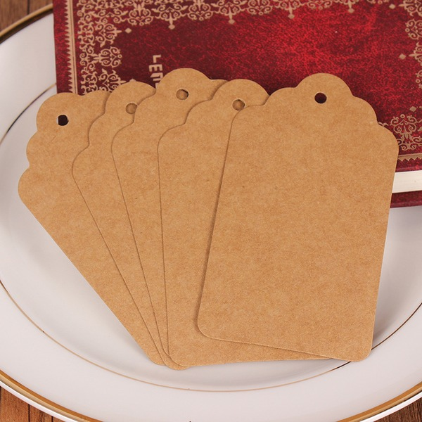 Simple Rectangulaire Papier Kraft Étiquettes (Lot de 100)