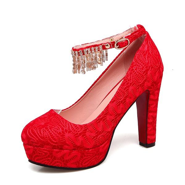 Frauen Lace Stöckel Absatz Absatzschuhe Plateauschuh mit Kette Schuhe