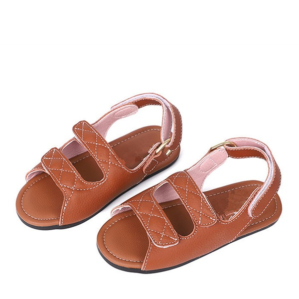 Girl's Peep Toe Slingback Real Leather Flat Heel Sandals Flats With Velcro