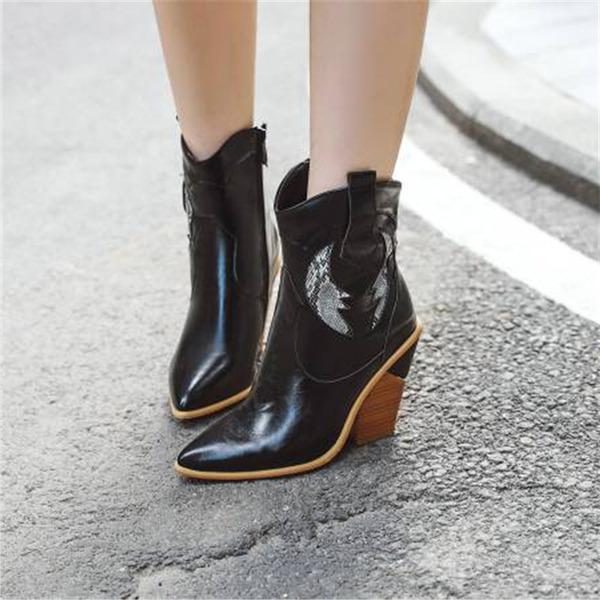 Frauen PU Stämmiger Absatz Stiefelette mit Andere Schuhe