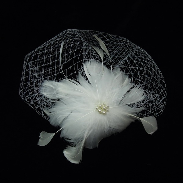 Prachtige Imitatie Parel/Feather/Tule Fascinators