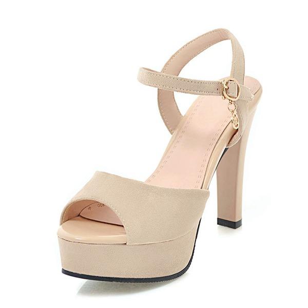 Mulheres Camurça Salto agulha Sandálias Bombas Plataforma Peep toe Sapatos abertos com Fivela sapatos
