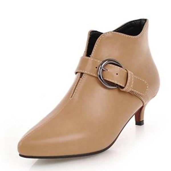 Frauen Kunstleder Niederiger Absatz Stiefel Stiefelette mit Schnalle Schuhe