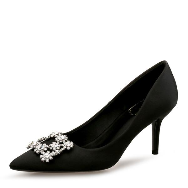 Frauen Seide wie Satin Stöckel Absatz Absatzschuhe Geschlossene Zehe mit Strass Schnalle Schuhe