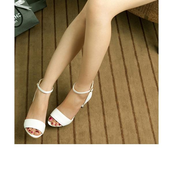 Naisten Kiiltonahka Piikkikorko Sandaalit Peep toe jossa Vetoketju kengät