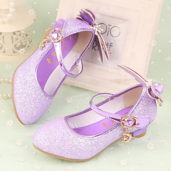 Fille de Bout fermé similicuir Low Heel Escarpins Chaussures de fille de fleur avec Bowknot Pailletes scintillantes Velcro