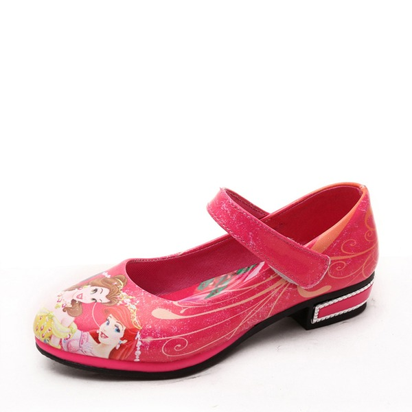 Pigens Round Toe Mary Jane Leatherette lav Hæl Fladsko Flower Girl Shoes med Velcro