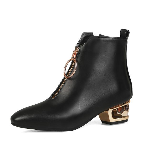 Frauen Kunstleder Stämmiger Absatz Stiefel mit Reißverschluss Schuhe