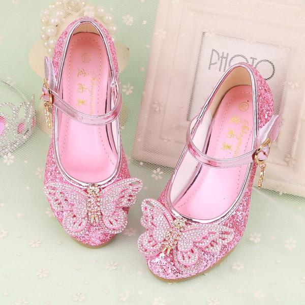 Fille de Bout fermé similicuir Low Heel Chaussures de fille de fleur avec Bowknot Strass Velcro