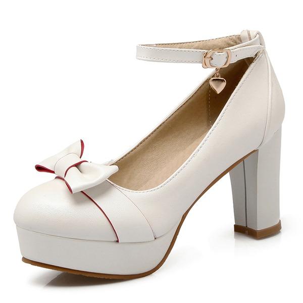 Donna Similpelle Tacco a spillo Stiletto Piattaforma Punta chiusa con Bowknot scarpe