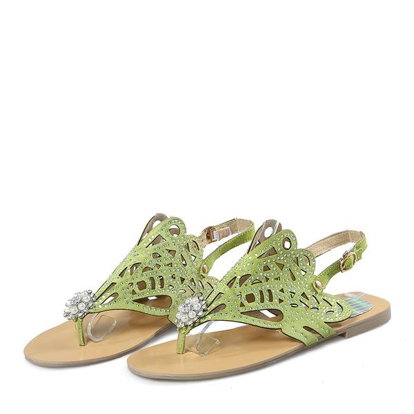 Vrouwen Sprankelende Glitter Flat Heel Flip Flops Peep-toe Sandalen met Lovertje