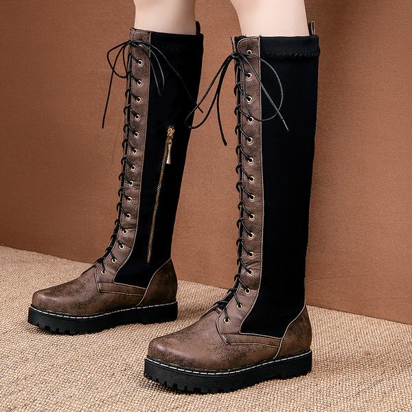 Naisten PU Matalakorkoiset Heel Platform Kengät Knee saappaat jossa Nauhakenkä Split yhteinen kengät