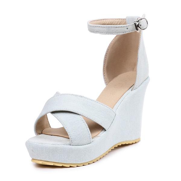 Donna Tela Zeppe Sandalo Zeppe con Fibbia scarpe