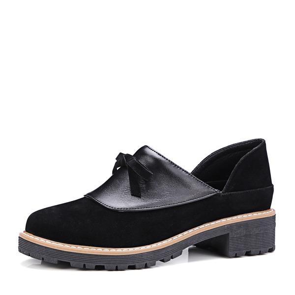 Frauen Veloursleder PVC Keil Absatz Keile mit Zuschnüren Schuhe