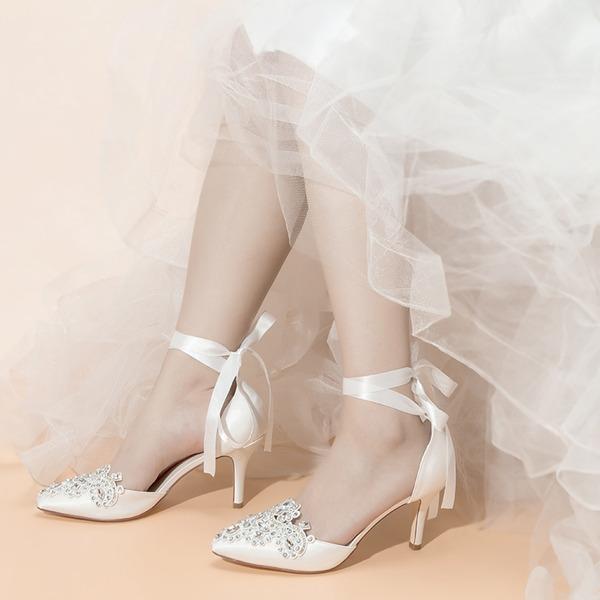 Women's Satin Fabric Stiletto Heel Closed Toe With Bowknot Rhinestone Jewelry Heel