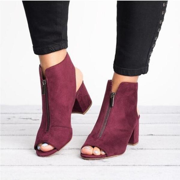 Frauen Stoff Stämmiger Absatz Sandalen Schuhe