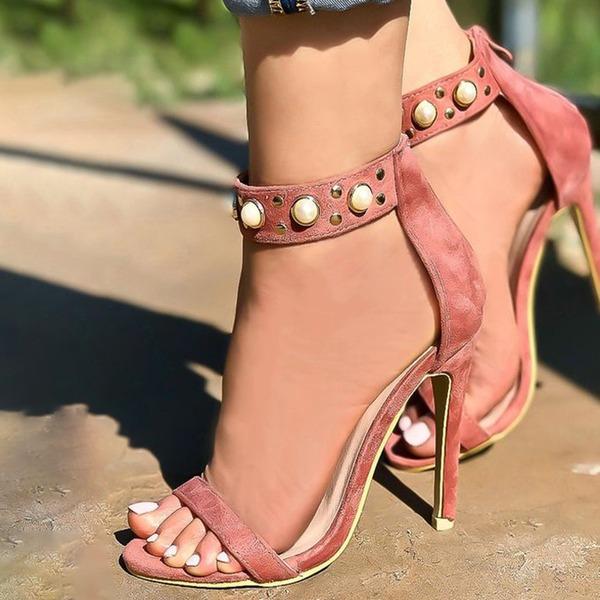 Donna Camoscio Tacco a spillo Sandalo Stiletto Punta aperta con Perla imitazione scarpe