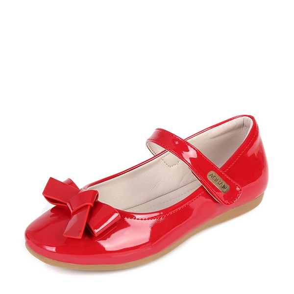 Jentas Lukket Tå Patent lær flat Heel Flower Girl Shoes med Bowknot Velcro