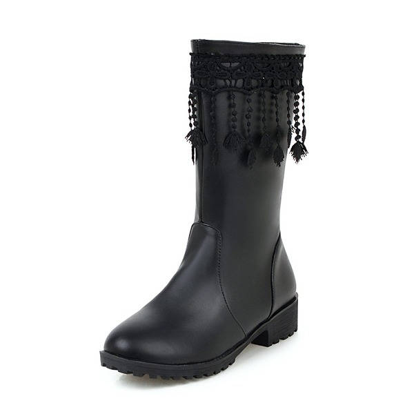 Kvinder Kunstlæder Lav Hæl Lukket Tå Støvler Knæhøje Støvler med Tassel sko