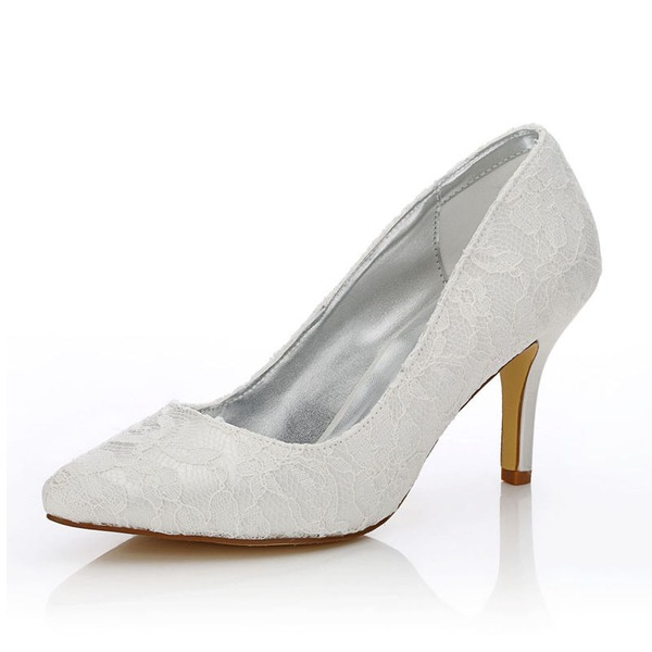 Kadın Dantel Saten İnce Topuk Kapalı Toe Pompalar Boyanabilir ayakkabılar